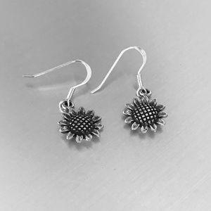Sterling Silver Dangling Sunflower 🌻 Earrings